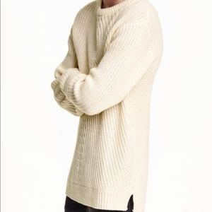 EUC H&M Chunky Cable Knit Long Wool Sweater SZ L
